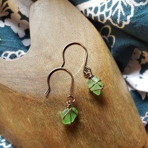Handmade Wired Green Beach Glass Bronze Earrings